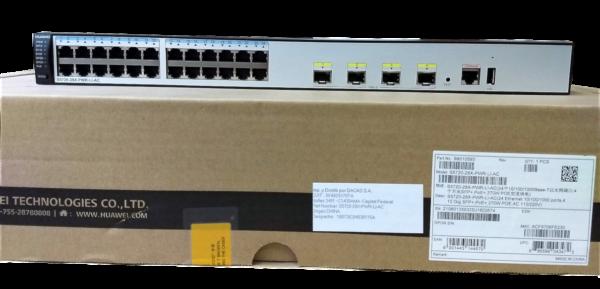 S5720-28X-PWR-LI-AC de frente sobre caja