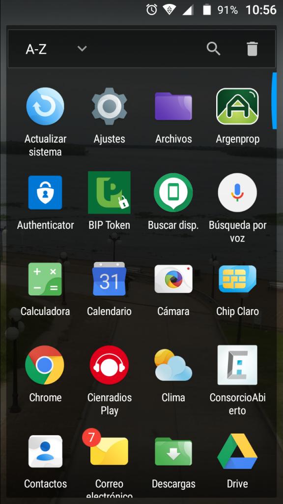 pantalla de aplicaciones generales del celular android